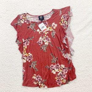 Bobeau rust floral ruffle sleeve blouse medium